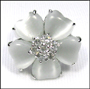 White Cat's Eye Flower Ring in Silver Size 6 - 9