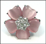 Pink Cat's Eye Flower Ring in Silver Size 6 - 9