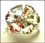 Multi-Color Faceted Flower Ring in Silver 5 - 10