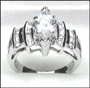 Marquise Cut CZ Silver  Engagement Ring Size 5