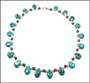 Turquoise Necklace with Coral and Pearl