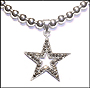 Sterling Silver Beaded Necklace with Marcasite Star Pendant