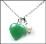Pearl and Heart Jade Pendant Necklace