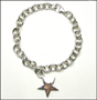 "Star Charm Tag Link Sterling Silver Bracelet with Clasp 7"" - 7.5"""
