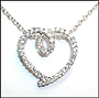"Loop Heart Pendant Silver Necklace 16"" or 18"""