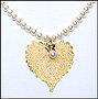 Pearl Necklace with Gold Leaf Pendant
