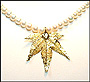 Pearl Necklace with Gold Maple Leaf Pendant