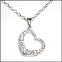 "Loving Heart Pendant Silver Necklace 16"" or 18"""
