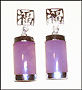 Lavender Jade Earrings with Chinese Character in Silver
