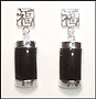 Black Onyx Dangle Earrings  with Chinese Character in Silver