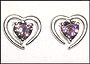 Open Heart Frame Purple CZ Heart Silver Earrings
