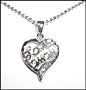 """Love Mom""  Heart Silver Necklace"