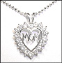 """Mom"" Open Heart Silver Necklace"
