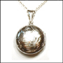 Etched Round Locket Silver Necklace