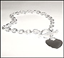 "Plus Size Heart Tag Toggle Sterling Silver Anklet (Medium 10"" - 10.5"")"