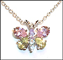 Silver Necklace with Pink and Peridot Butterfly