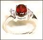 Genuine Garnet Silver Ring with CZ Accent I