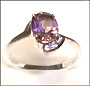 Asymmetric Solitaire Amethyst Ring on Silver