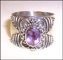 Sterling Silver Ring with Genuine Amethyst