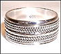 Tibetan Sterling Silver Prayer Spin Ring (Size 13, 14)