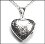 Etched Heart Locket Silver Necklace