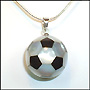 Two Tone Mother of Pearl Soccer Ball Necklace