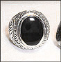 Men's Black Onyx Sterling Silver Scrolled Vine College Ring Size 7, 8, 9,11,12