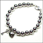 "Sterling Silver 8 mm Bead Bracelet with Lock and Key Charm(7"" - 7.5"")"