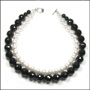 2-Strand Faceted Black Onyx Bead and Swarovski Pearl Necklace