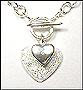 Link Silver Necklace with Two Diamond Hearts