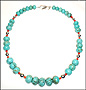 Graduated Rondelle Turquoise Necklace with Silver Beads 24""