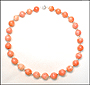 Pink Shell Bead (12 mm) Necklace with Silver Beads
