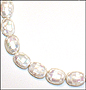 """White Mother of Pearl Large Patched Bead Necklace (Plus Size 18"""")"""