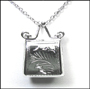 Etched Purse Locket Silver Necklace