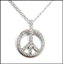 Peace Sign CZ Silver Necklace