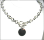 """Disc Charm Tag Toggle Sterling Silver Link Necklace (Heavy 18"""")"""
