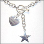 Heart and Star Charms Toggle Silver Link Necklace (Regular)