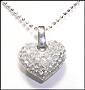 "Classic Heart Pendant Silver Necklace 16"" or 18"""