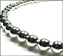 """Graduated Bead Sterling Silver Beaded Necklace (1) 16"""""""