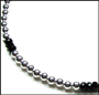 """Sterling Silver Bead (6 mm) and Black Onyx Necklace 16"""""""