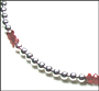 """Sterling Silver Bead (6 mm) and Ruby Quartz Necklace 16"""""""