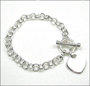 """Heart Charm Toggle Round Rolo Link Silver Bracelet  7"""""""