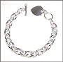 "Heart  Charm Toggle Link  Silver Bracelet  (Heavy 8"")"