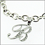 """Sterling Silver Link Bracelet with Script Initial Charm  7"""" - 7.5"""""""