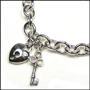 "Heart Lock and Key Link Silver Bracelet with Clasp 7"" - 7.5"""