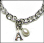 "Initial and Pearl Link Silver Bracelet with Clasp 8"" - 8.5"""