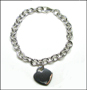 """Heart Charm Tag  Link Silver Bracelet with Clasp 8"""" - 8.5"""""""