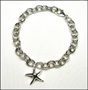 "Starfish Charm Link Sterling Silver Bracelet with Clasp 7"" - 7.5"""