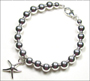 """Sterling Silver 6 mm Bead Bracelet with Starfish Charm (7"""" - 7.5"""")"""