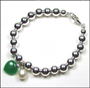"""Silver 6 mm Bead Bracelet with Pearl and Jade Heart (7"""" - 7.5"""")"""
